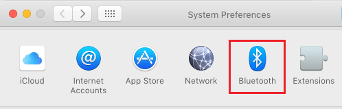 Bluetooth Tab in System Preferences Screen on Mac