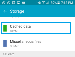 Cached Data Tab on Android Storage Settings Screen