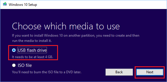 Choose Media Type For Windows Media Creation Tool
