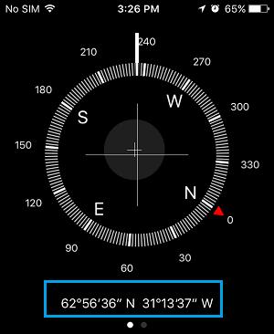Compass App Displaying GPS Coordinates on iPhone