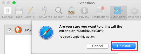 Confirm to Uninstall Safari Extension on Mac