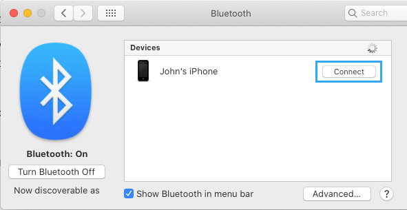 Connect to Bluetooth Device on Mac