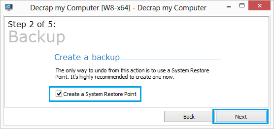 Create System Restore Point Using Decrap My Computer Program