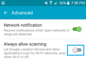 Disable Location Tracking For WiFi On Android Phone