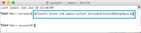 Terminal Command to Disable Safari Debug Menu On Mac