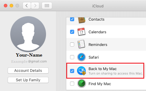 Enable Back to My Mac Option in iCloud on Mac