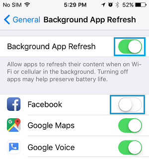 Disable Background App Refresh For Facebook On iPhone