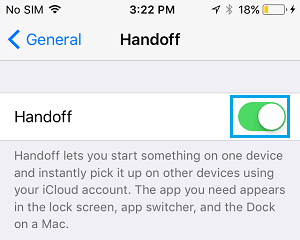 Enable Handoff Feature on iPhone