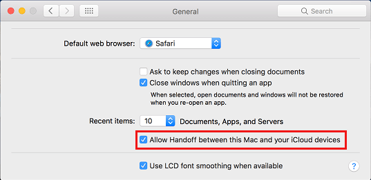 Allow Handoff between this Mac and iCloud devices Option