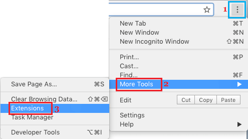 Tools and Extensions Options on Chrome Browser