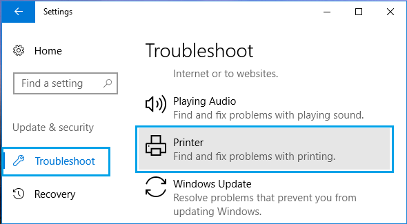 Troubleshoot Printer Option in windows 10