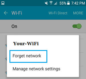 Forget Network Option on iPhone