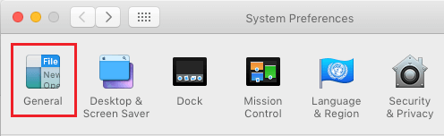 General Settings Option in System Preferences Screen on Mac