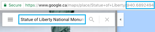 GPS Coordinates in URL in Google Maps