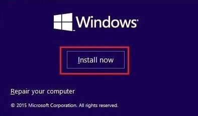 Install Now Option on Windows Setup Screen