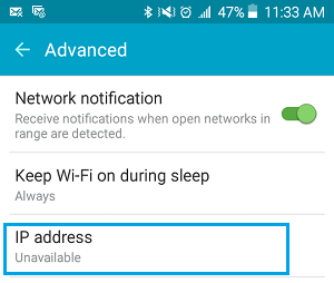 IP Address Unavailable on Android Phone