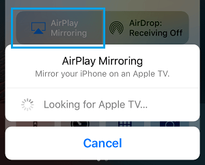 iPhone Searching For Apple TV