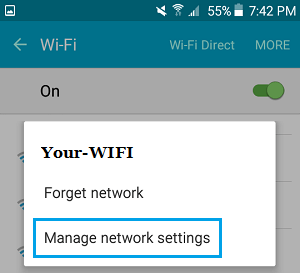 Manage Network Settings Screen Option on Android Phone