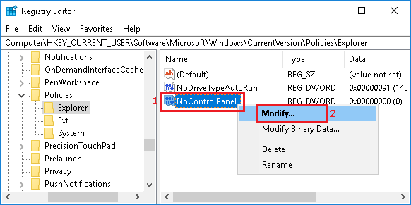 Modify NoControlPanel DWORD in Windows 10