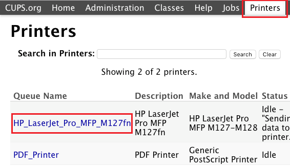 Printers Listed on CUPS Interface on Mac