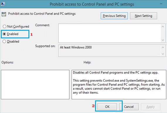Prohibit Access to Control Panel and PC Settings in Windows 10