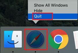 Quit Safari Browser on Mac