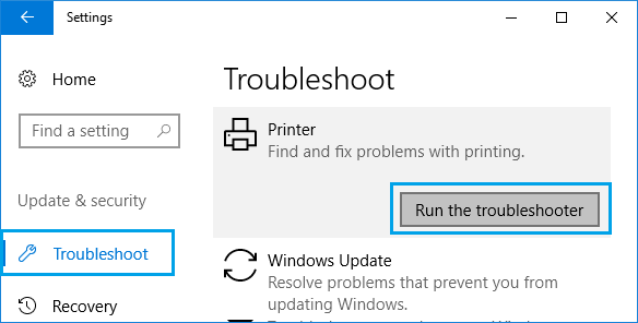 Troubleshoot Printers Option in Windows 10