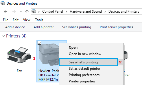 See What is Printing Option in Windows 10