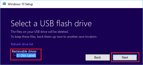 Select USB Flash Drive Location to Download Windows Media Creation Files