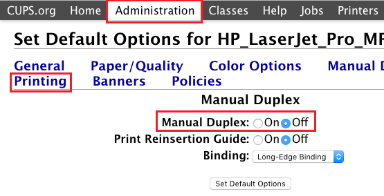 Set Duplex Mode For Mac Printer to OFF Using CUPS