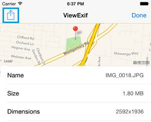 Share Option in ViewExif App On iPhone