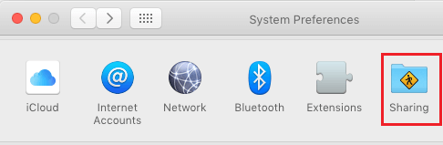Sharing Option in System Preferences Screen on Mac