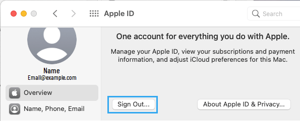 Sign-out From Apple ID on Mac