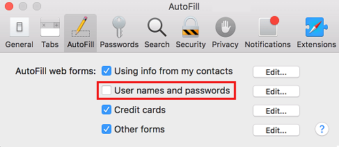 Stop Safari From Saving User Names and Passwords