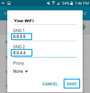 Change DNS Settings to Google DNS On Android Phone