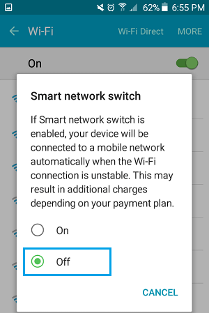 Disable Smart Network Switch Option on Android Phone