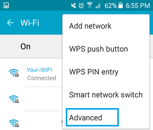 Advanced Option on WiFi Settings Screen on Android Phone