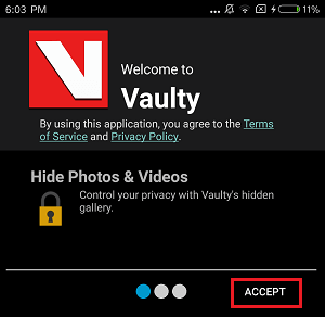 Accept Vaulty App Terms and Conditions
