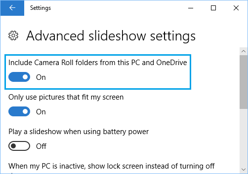 Lock Screen Background Advanced Slideshow Settings Screen in Windows 10