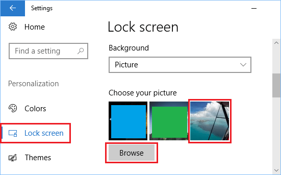 Set Picture as Lock Screen Background in Windows 10