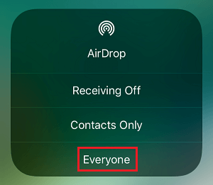 Allow AirDrop From Anyone on iPhone