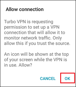 Allow Turbo VPN to Make Connection Pop-up