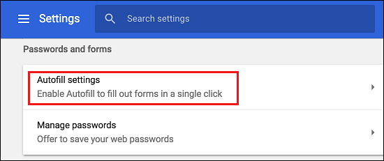 Autofill Settings Tab in Google Chrome
