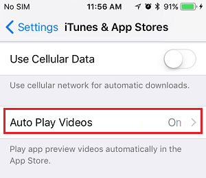 Autoplay Videos Tab on iPhone