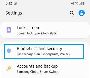 Biometrics & Security Settings Option on Android Phone