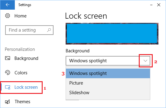 Lock Screen Background Settings Screen in Windows 10