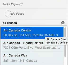 Choose Location in Mac Photos App