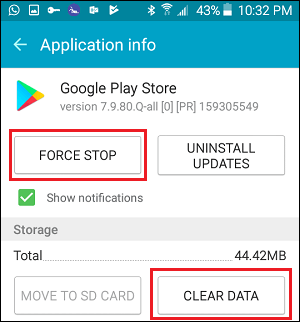 Clear Google Play Store Data and Force Quit App