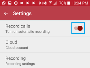 Disable Call Recording in Automatic Call Recorder App