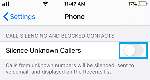 Disable Silence Unknown Callers